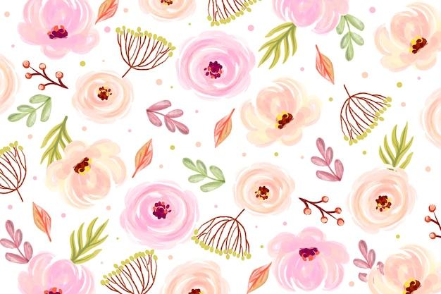 柔らかい色の花の水彩画の背景