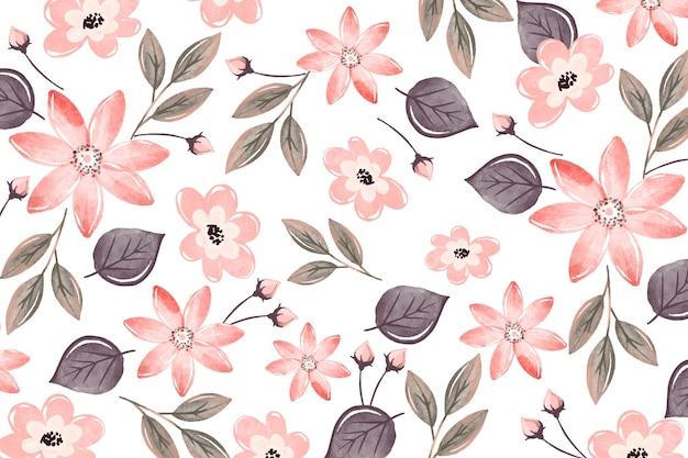 柔らかい色と花の背景水彩画