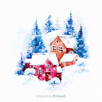 水彩のクリスマスタウン