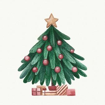 水彩のクリスマスツリーの装飾