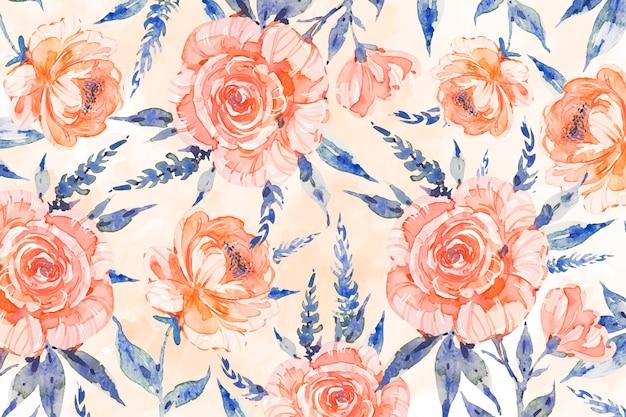 柔らかい色と水彩の花の背景