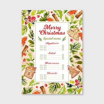 Шаблон меню акварель рождество