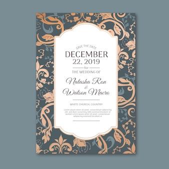 Элегантный дамасской шаблон свадебного приглашения