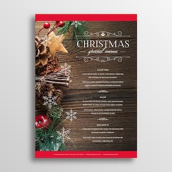 Прекрасный рождественский шаблон меню с фото