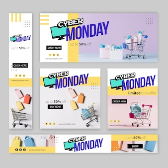 写真とフラットなデザインサイバー月曜日バナー
