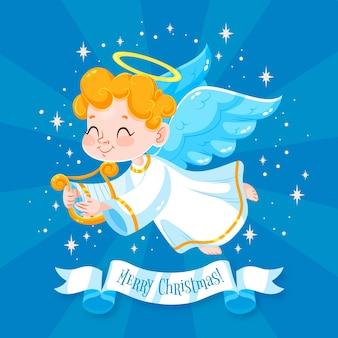 フラットなデザインのクリスマスの天使