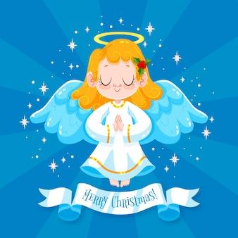 Рождественский ангел в плоском дизайне