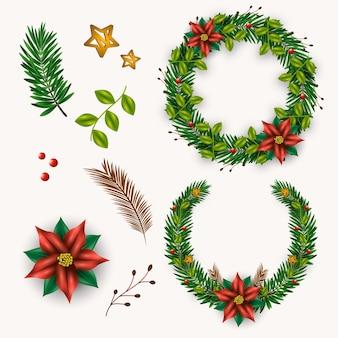 リアルなクリスマスフラワー&リースコレクション