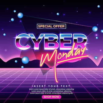 Ретро футуристический кибер понедельник баннер