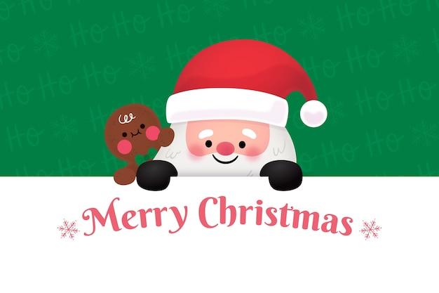 サンタとフラットクリスマス背景