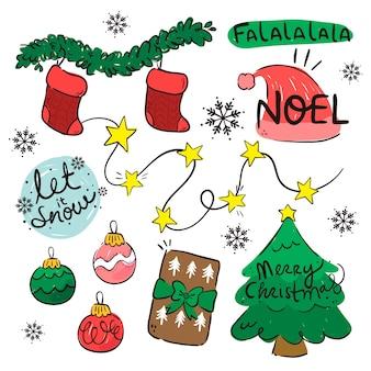 フラットクリスマス要素パック