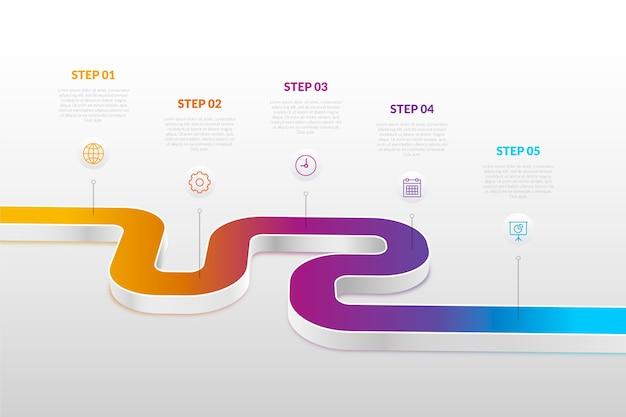グラデーションのタイムラインインフォグラフィック