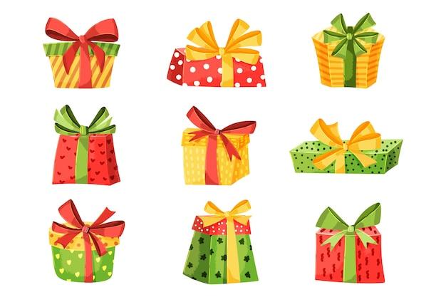 Плоская рождественская коллекция подарков