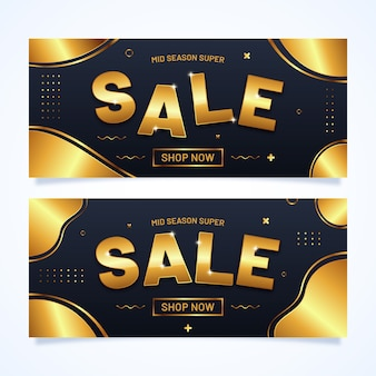 Набор реалистичных золотой баннер продаж