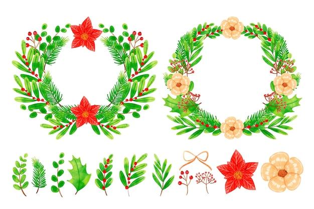 水彩で花輪とクリスマスの花のコレクション