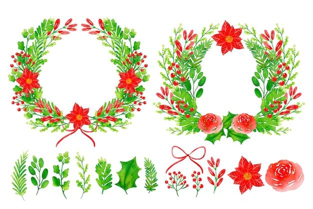 花輪とクリスマスの花の装飾の水彩セット