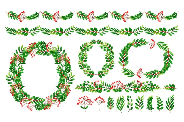 水彩でクリスマスの装飾の品揃え