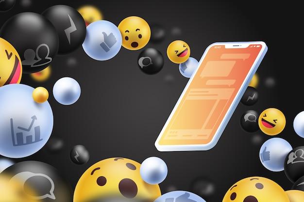 携帯電話の背景を持つソーシャルメディアのアイコン