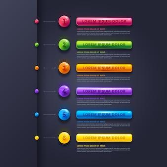 現実的な光沢のあるインフォグラフィックの手順
