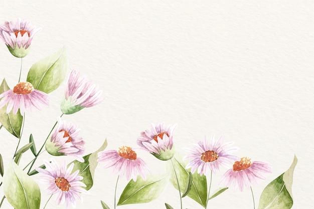 柔らかい色と背景の花の水彩画
