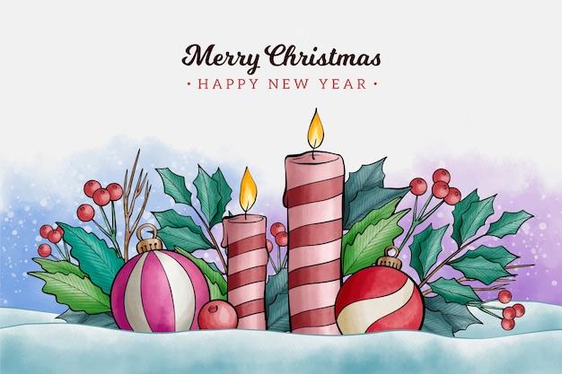水彩のクリスマスキャンドルの背景