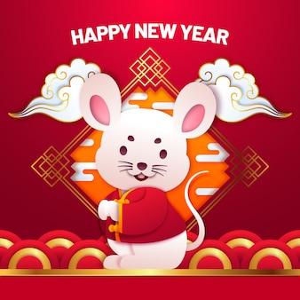 Милый китайский новый год в бумажном стиле