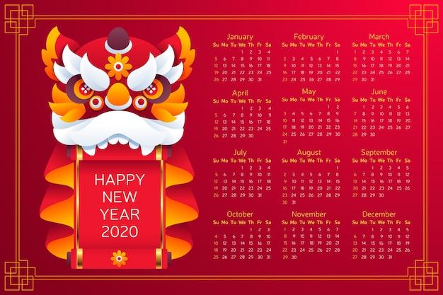 Китайский новогодний календарь в плоском дизайне с градиентом