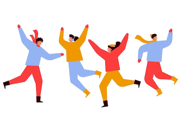 Молодые люди в зимней одежде прыгают вместе