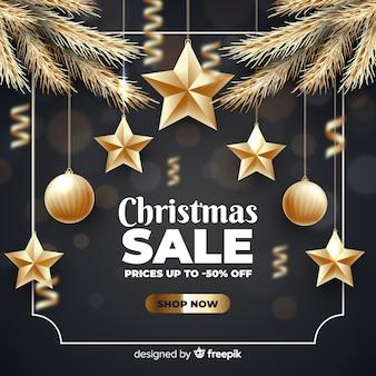 Рождественская распродажа концепции с золотым фоном