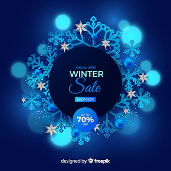 Реалистичная концепция зимней распродажи