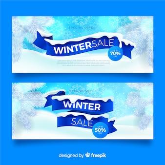 Реалистичная зимняя распродажа баннеров шаблон