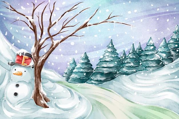Акварельный зимний пейзаж со снеговиком