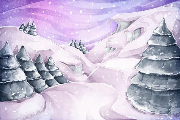 松の木と水彩の冬の風景