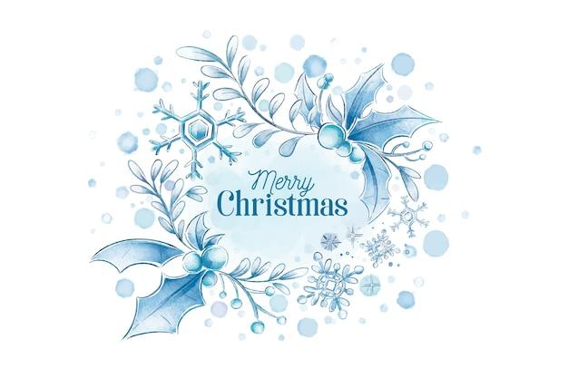 水彩メリークリスマス冬背景