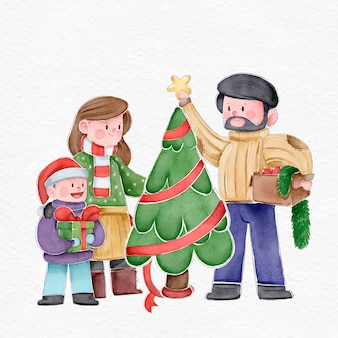 水彩でクリスマス家族シーンコンセプト