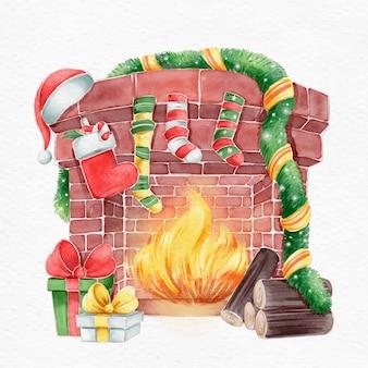Рождественская сцена камина в акварели