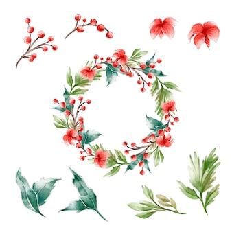 Акварель рождественский венок концепция