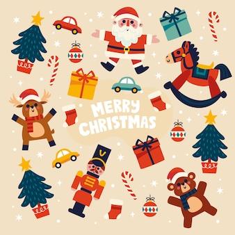 Плоский дизайн коллекции рождественских игрушек