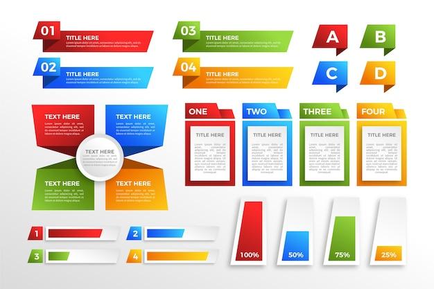 モダンなカラフルなグラデーションインフォグラフィック要素