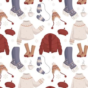 Плоский дизайн зимней одежды и предметов первой необходимости