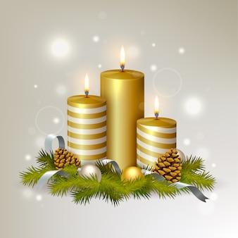 Реалистичная рождественская свеча фон