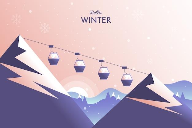 山とケーブルのある冬景色