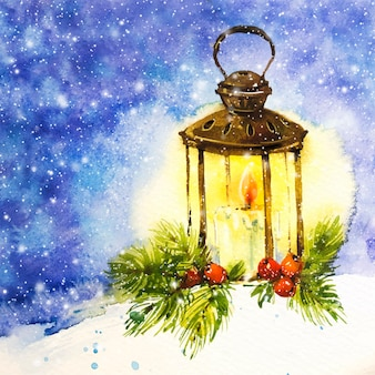 Акварель рождественская свеча фон