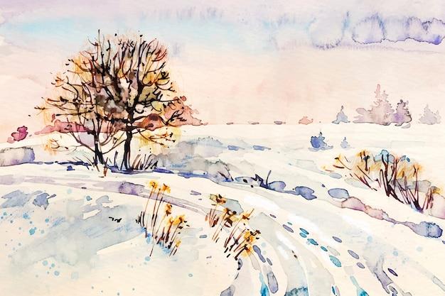 木と雪道の風景