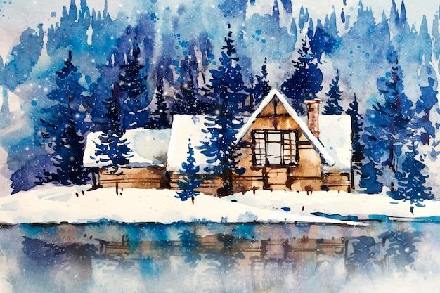 モダンな家と湖の風景の木々