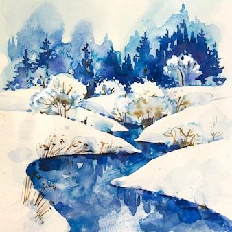 木の風景と冬の川
