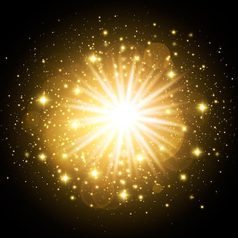 輝く黄金の日の出の光の効果