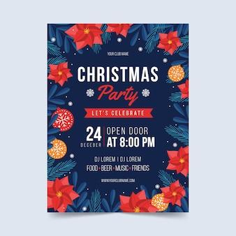 フラットなデザインのクリスマスパーティーのフライヤーテンプレート
