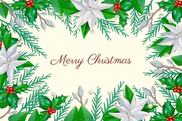 Счастливого рождества с ветками деревьев