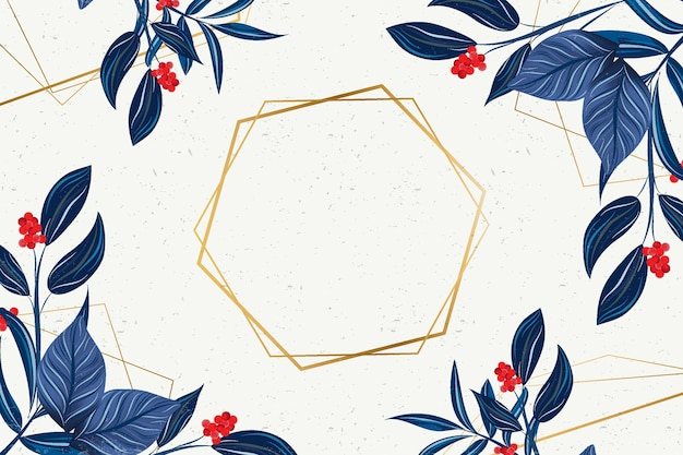 Шестиугольная золотая рамка с зимними цветами